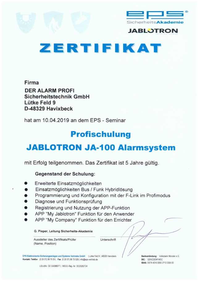 Zertifikat Profischulung Jablotron JA-100 Alarmsystem