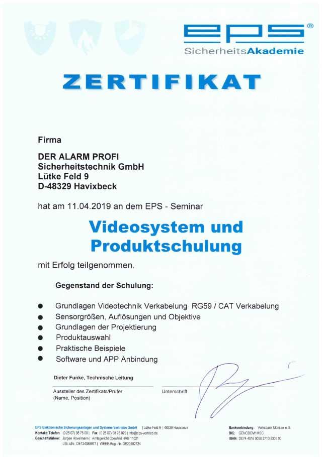 Zertifikat Videosystem und Produktschulung